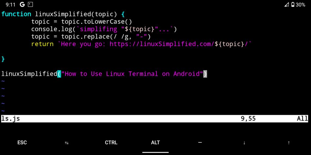 JavaScript programming on Vim (via termux)