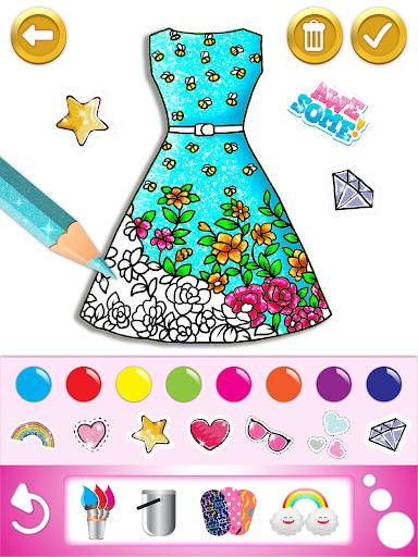Glitter dress coloring and drawing book for Kids screenshot 12
