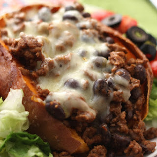 Beef and Black Bean Stuffed Baked Potatoes.