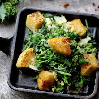 Broccoli Rabe with Polenta Croutons