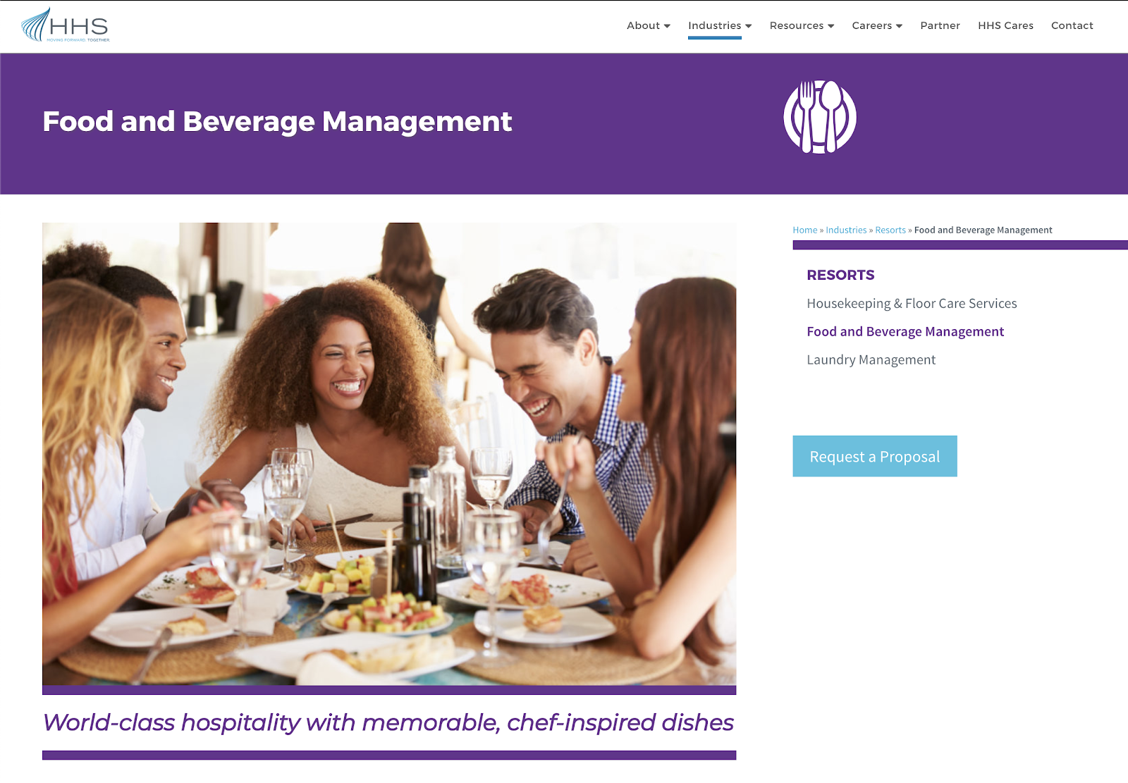 Service line pages feature icons and lifestyle photography to capture the user's attention