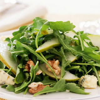 Rocket, Pear, Walnut And Blue Cheese Salad.