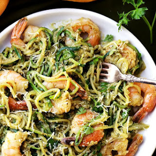 Pesto Zucchini Noodles and Shrimp.