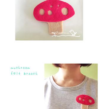 mushroom felt brooch