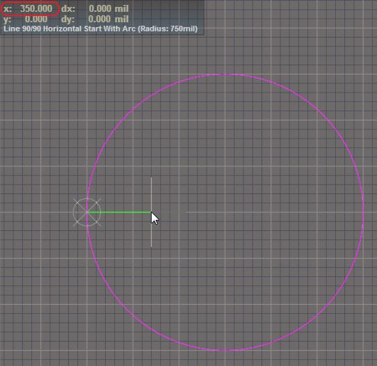 3D-Donut erstellen: Positionierung des Cursors zur Zeichnung des Innendurchmessers.