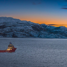 Supplyship in sunset by Morten Gustavsen - Transportation Boats