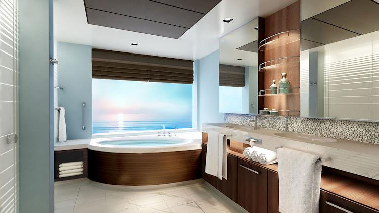 The upscale bathroom in a Concierge Suite on Norwegian Joy.