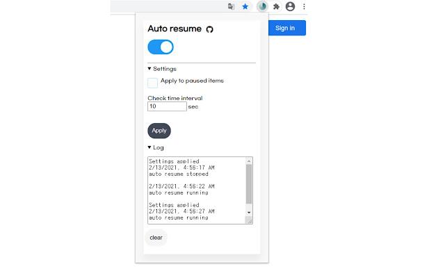 Auto Resume Downloads