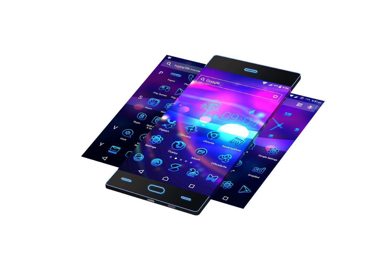 Google themes for android mobiles - Neon 2 Hd Wallpapers Theme Screenshot