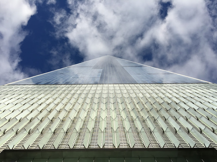 Looking up from its base, 1 WTC looks like a pyramid.