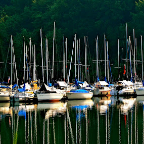 MARINA REFLECTIONS by Bethany Kenney - Landscapes Waterscapes ( boats, marina )