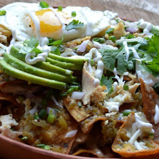 Chilaquiles with Chicken, Eggs and Avocado