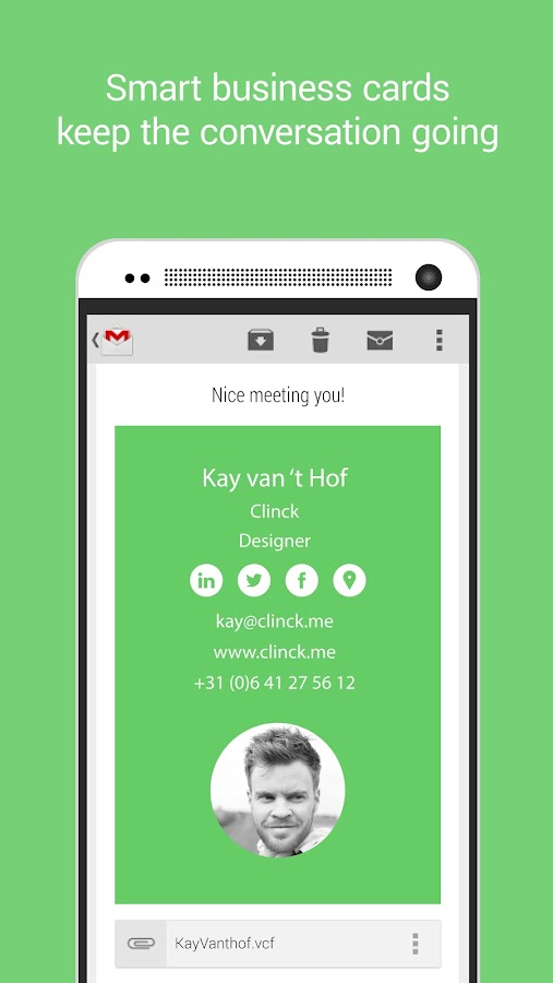 Clinck - digital business card- screenshot
