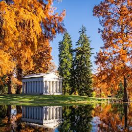Fleischman Mausoleum in the Afternoon by Pat Lasley - City,  Street & Park  Cemeteries ( spring grove, nature, park, mausoleum, cemetery )
