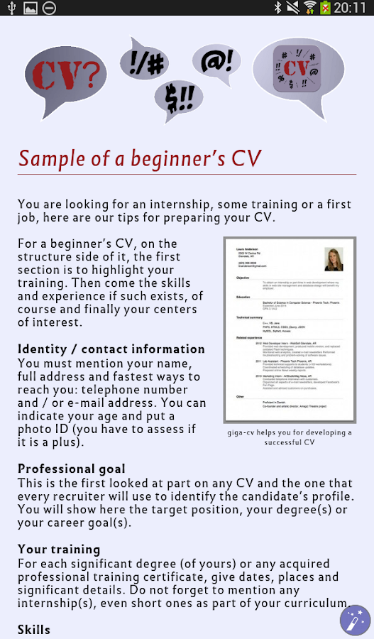 Tips for a successful Resume- screenshot