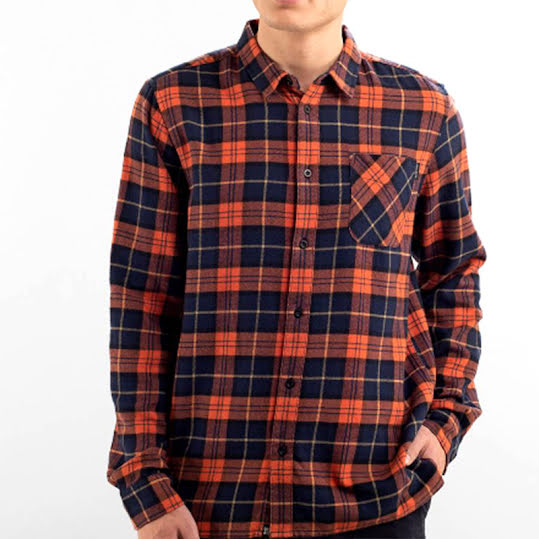 Shirt Rute Flannel Checker Orange Stl, M