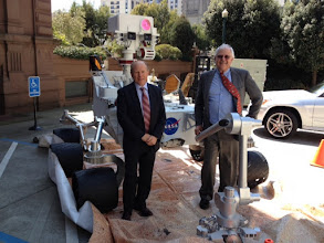 Photo: New vehicle design for Sonoma County roads. Troy and Harrison stand next to Mars Lander.