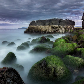 Attack of the rocks by Kaspars Dzenis - Landscapes Waterscapes ( clouds, iceland, cliffs, waves, sea, ocean, long exposure, landscape, rocks )