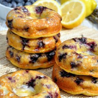 Skinny Lemon Blueberry Donuts with Lavender Glaze