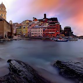 Vernazza by Arda Erlik - Landscapes Travel ( cinque terre, sunset, vernazza )