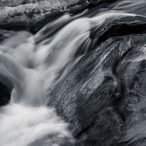 The Falls by Daniel Wheeler - Landscapes Waterscapes ( water, black and white, falls, long exposure, rocks )