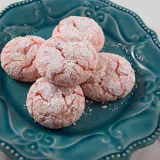 Blush Rose Valentine Crinkle Cookies.
