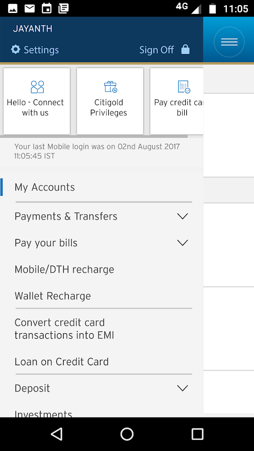 Citibank IN- screenshot
