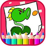 Art vs coloring Zombie plant Cartoon Games Icon