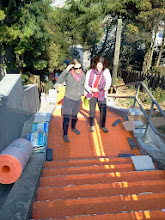 Photo: Fourth full day of work (October 30, 2013): project artists Colette Crutcher (left) and Aileen Barr seeing, for the first time, onsite installation of pieces of the Hidden Garden Steps (16th Avenue, between Kirkham and Lawton streets in San Francisco's Inner Sunset District) 148-step ceramic-tile mosaic they designed and created. For more information about this volunteer-driven community-based project supported by the San Francisco Parks Alliance, the San Francisco Department of Public Works Street Parks Program, and hundreds of individual donors, please visit our website at http://hiddengardensteps.org.