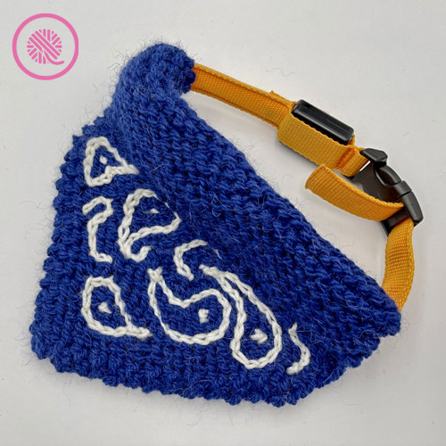 paisley pet bandana shown with collar