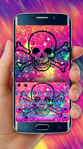 Sparkling Galaxy Skull Keyboard Theme - screenshot