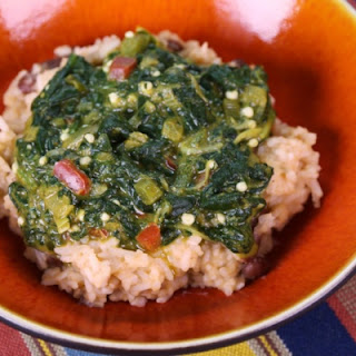 Caribbean Stewed Spinach with Rice & Beans.