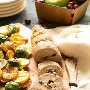 One Pan Stuffed Pork Tenderloin with Vegetables