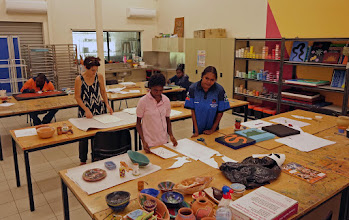 Photo: Tribal artists in small Wujal Wujal community center where we stopped for refreshments-- the very best and authentic Aussie Aborigine art I saw, in all our travels.