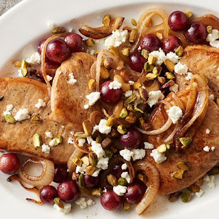 Pork Chops with Grapes and Pistachio Nuts.