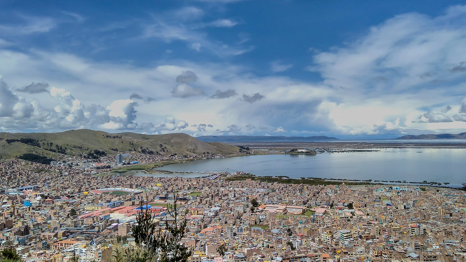 Puno+and+lake+titicaca+from+hilltop+near+Puno+peru