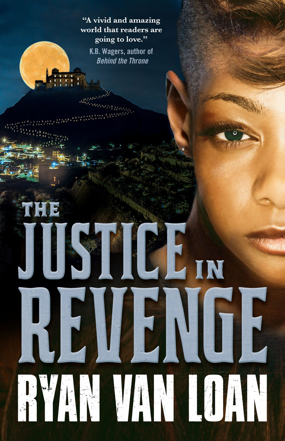 The cover for THE JUSTICE IN REVENGE features a brown-skinned femme with green eyes, unsmiling, in front of a city that prominently features a large building at the top of a hill. The moon, behind the city, is full.