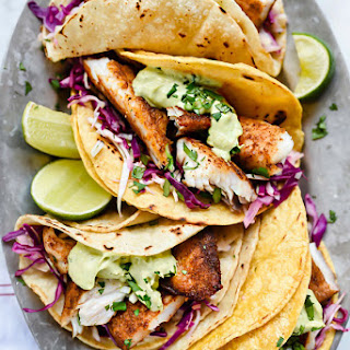 Blackened Fish Tacos with Creamy Avocado Sauce.