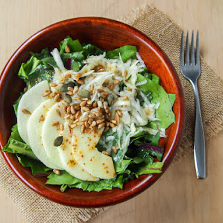 Dandelion and Celeriac Salad with Lemon Maple Syrup Dressing