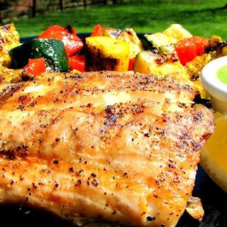 Grilled Rockfish with Lemon Basil Pesto - Striped Bass
