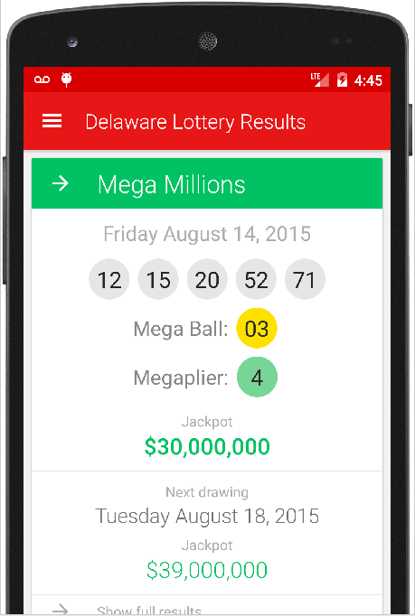 DELAWARE LOTTERY RESULTS