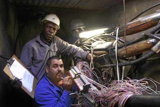 Telkom technicians replacing cables in Johannesburg. Picture: Sunday Times