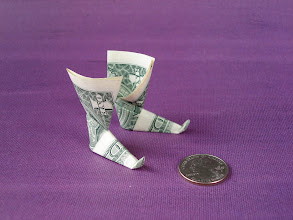 Photo: Model: Elven Boots;  Left and right boots, the diagrams show how to fold the right boot, simply mirror the instructions to fold the left boot;  Creator: unknown;  Folder: William Sattler;  1 dollar each;  Publication: Making Even More With Money (OrigamiUSA) http://www.origami-usa.org/