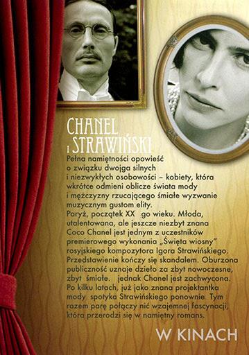 Tył ulotki filmu 'Chanel i Strawiński'