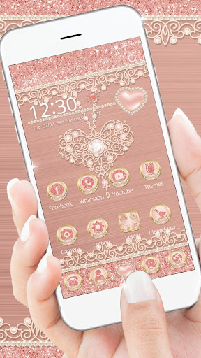 Rose Gold Launcher Diamond Heart Theme 1.1.1 screenshots 1
