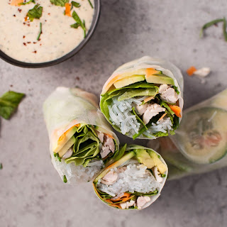 Chicken Salad Rolls With Miso Tarragon Dipping Sauce.