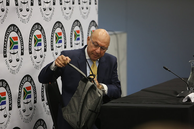 Former Finance Minister Trevor Manuel gives testimony before the state capture commission of inquiry