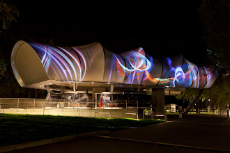 Photo: Dreams in High Fidelity by Scott Draves projected at LICHTSTROEME, on the banks of the Rhine in Germany.  Photo Jennifer Braun 2012.05.
