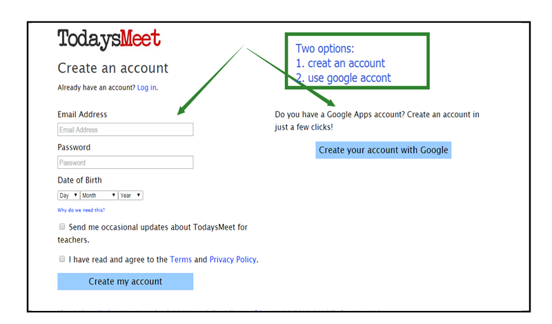 Screenshot of login information needed to sign up.