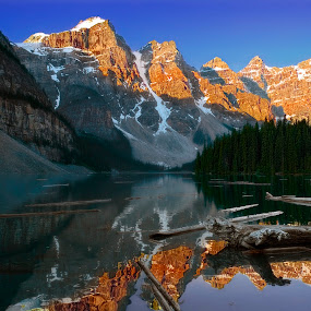 Sun on the Mountain by Brian Adamson - Landscapes Mountains & Hills ( reflection, mountains, alberta, lake, morning, banff,  )
